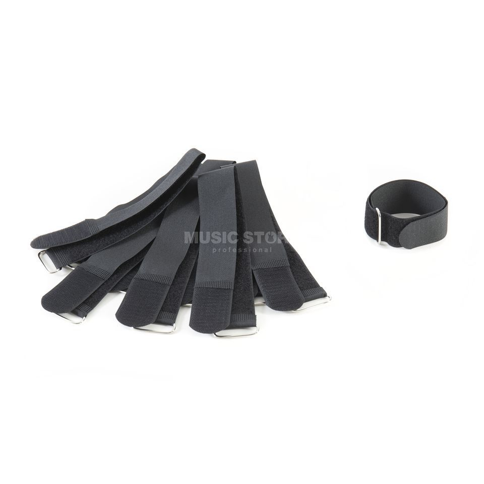 MUSIC STORE Velcro Cable Tie,40cm, black Pack of 10 Produktbillede
