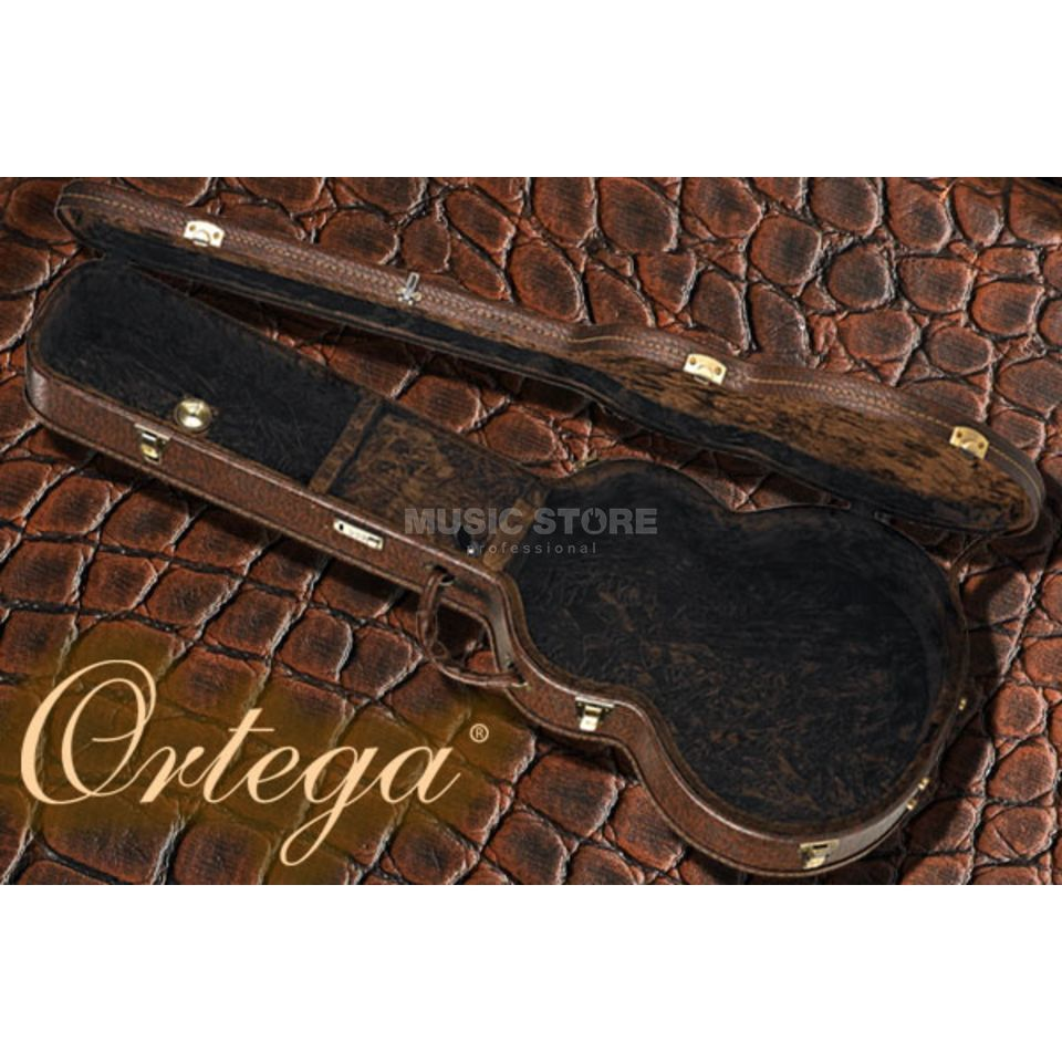 Ortega OABCA-BR Acoustic bas case Dark Brown Croco Finish Productafbeelding