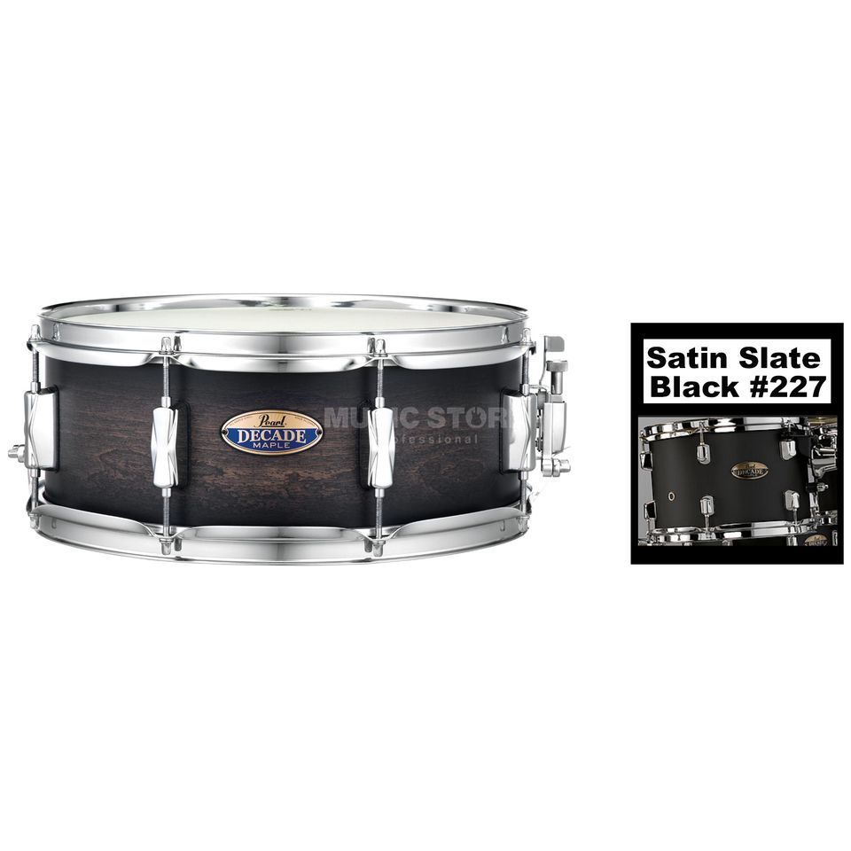 "Pearl Decade Maple Snare 14""x5,5"", Satin Slate Black #227 Product Image"