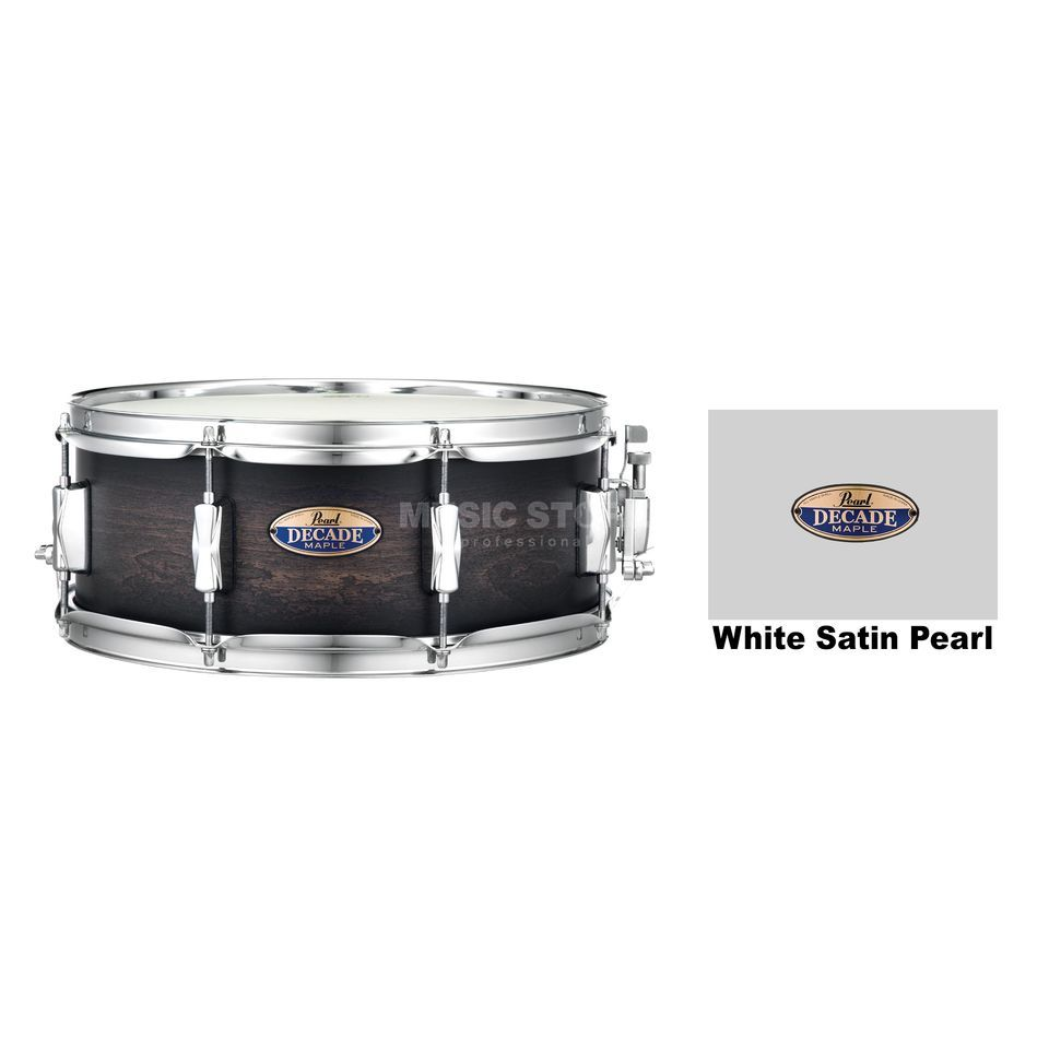 "Pearl Decade Maple Snare 14""x5,5"", White Satin Pearl Productafbeelding"