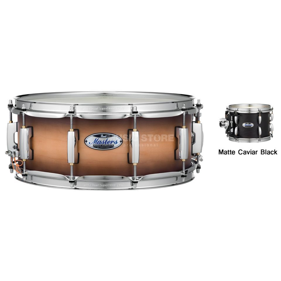 "Pearl Masters Maple Complete Snare 14""x6,5"", Matte Caviar Black Product Image"