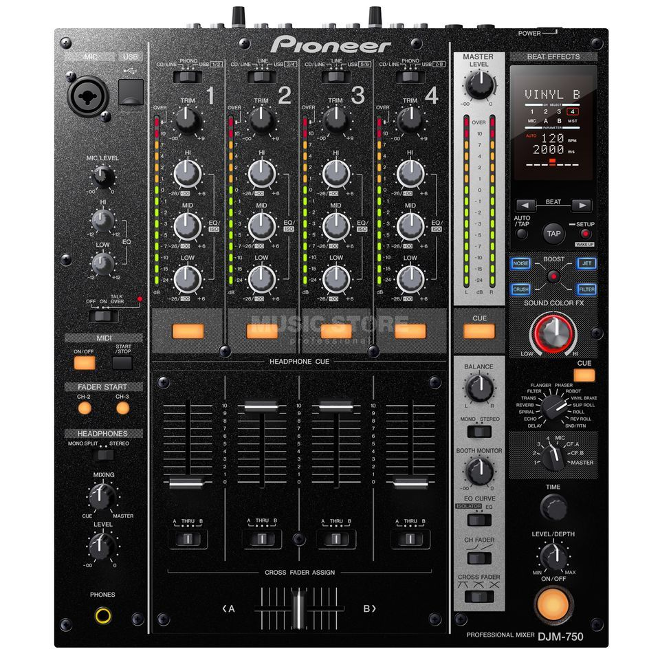 Pioneer DJM-750-K Black 4-Channel Mixer with USB Product Image