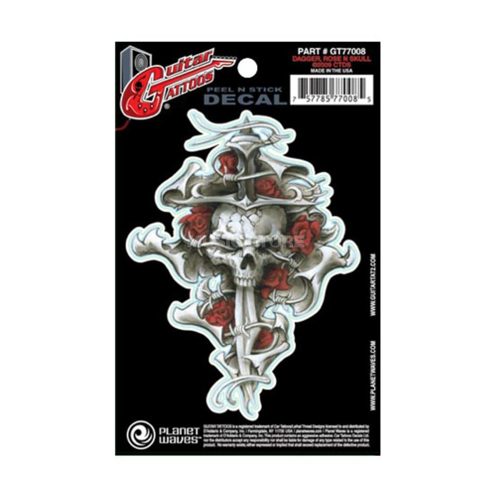 Planet Waves Guitar Tattoo - Dagger Rose Skull, GT77008 Produktbild