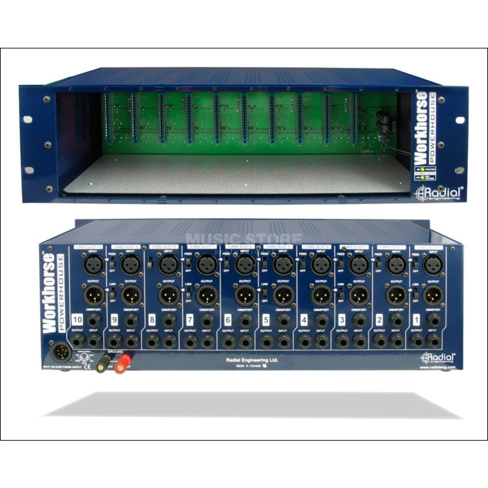 "Radial Workhorse Powerhouse 500-er Rack, 10 Slots, 19"" 5HE Produktbild"