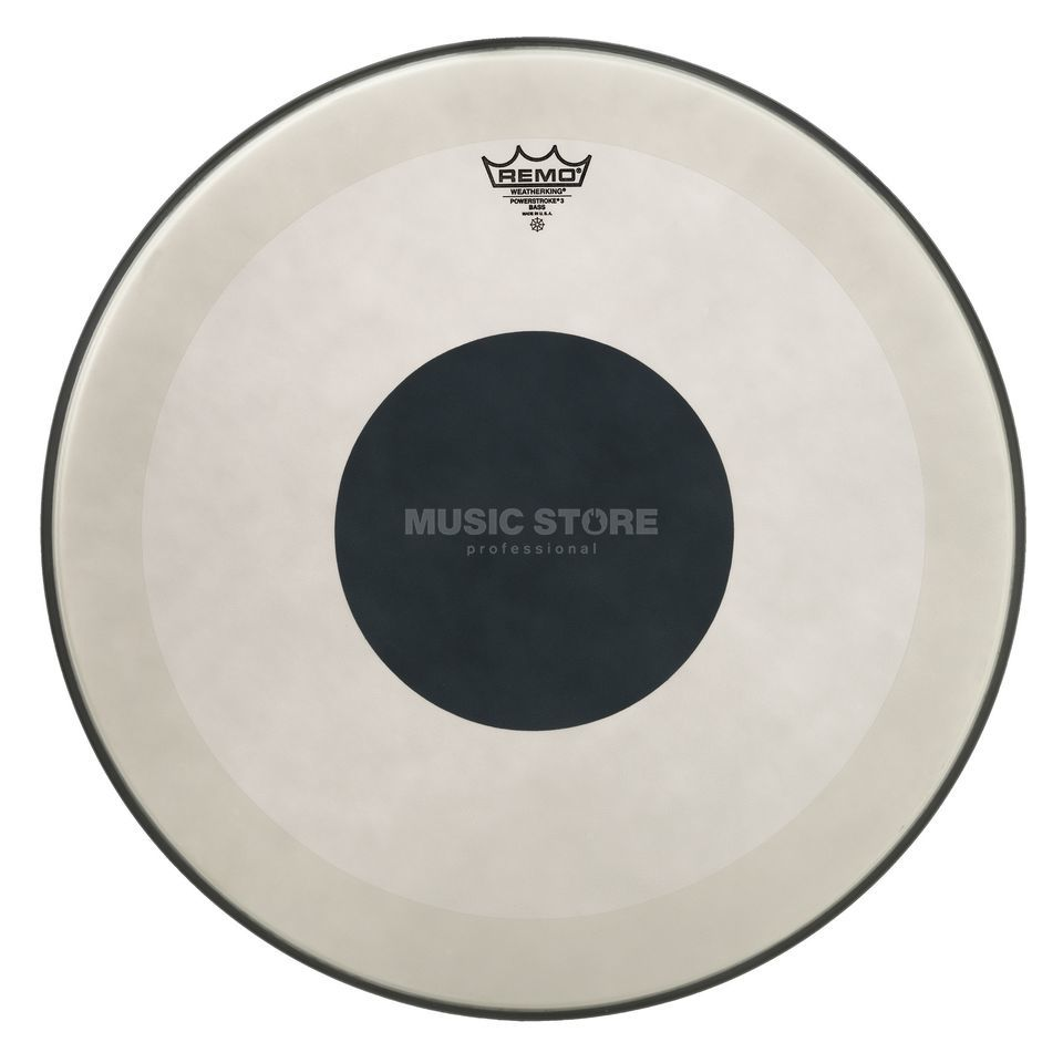 "Remo Powerstroke 3 Black Dot 20"", Coated, BassDrum Batter Produktbillede"