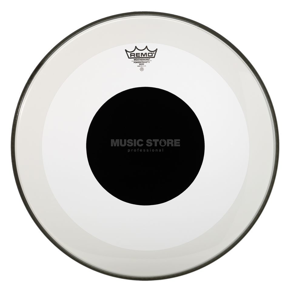 "Remo Powerstroke 3 Black Dot 24"", Clear, BassDrum Batter Produktbild"