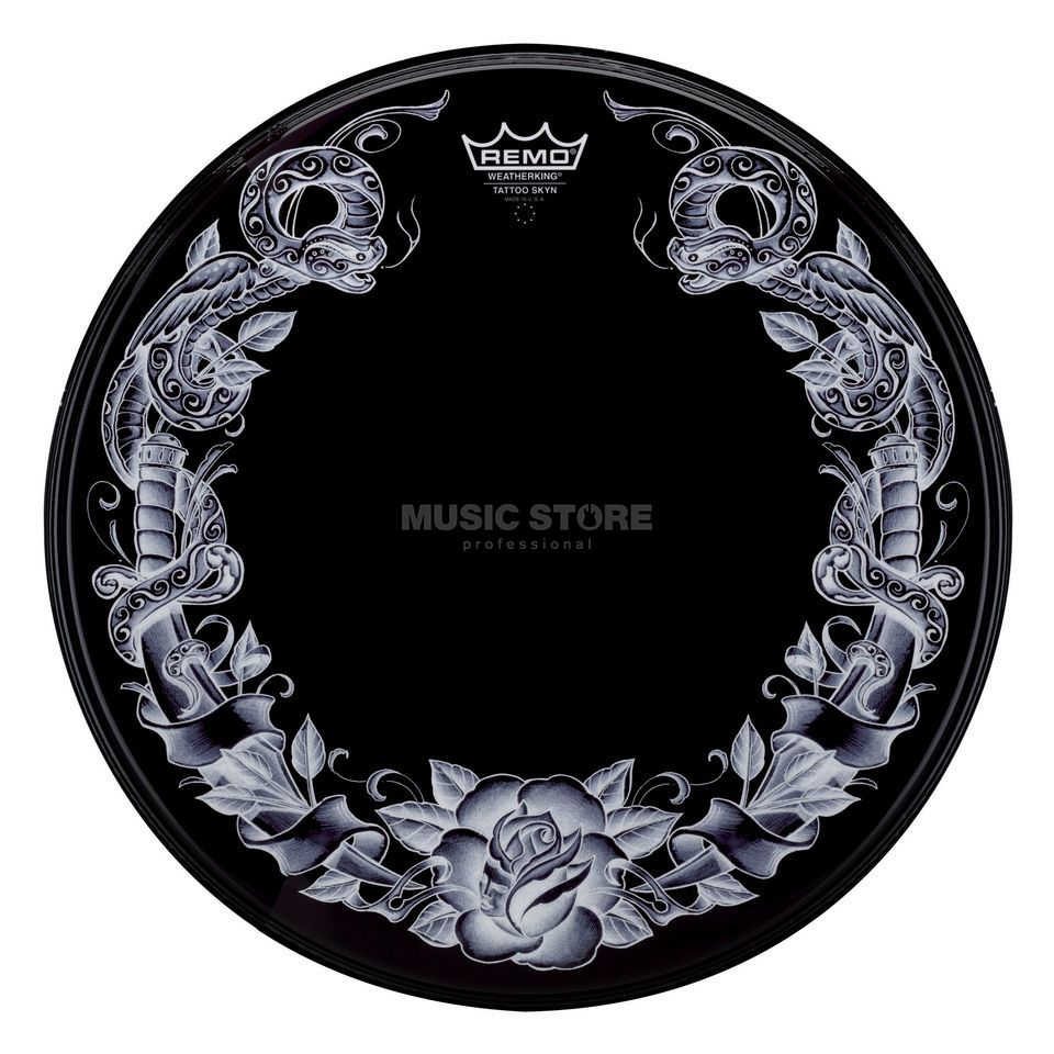 "Remo Tattoo Powerstroke 3, 22"", Serpentrose, black Produktbillede"
