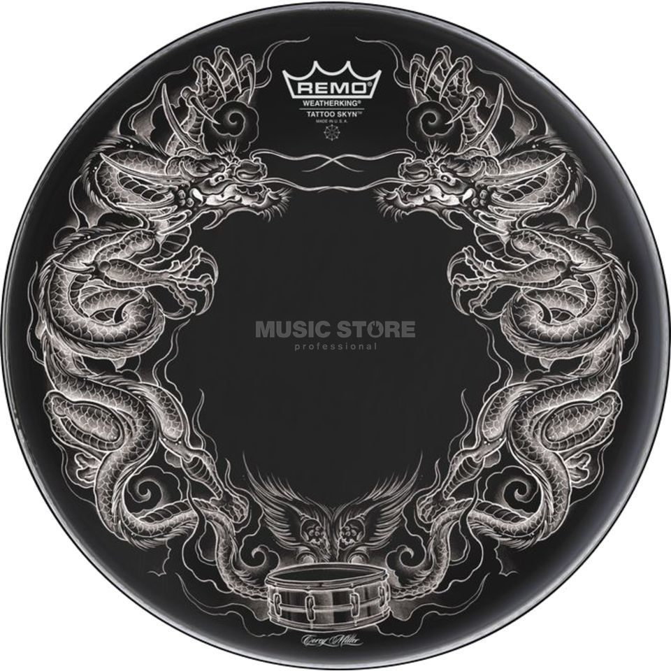 "Remo Tattoo Skyn 22"", Dragon Skyn on black Zdjęcie produktu"