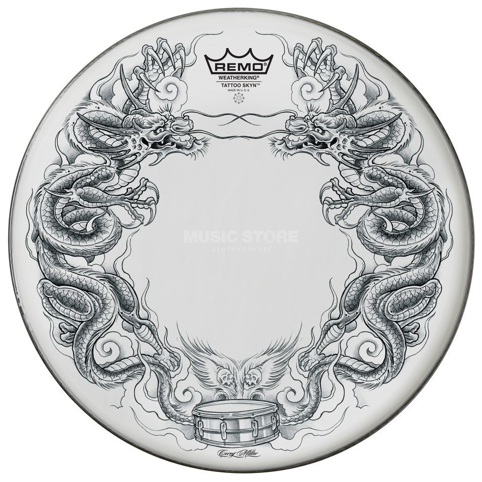 "Remo Tattoo Skyn 22"", Dragon Skyn on white Produktbild"