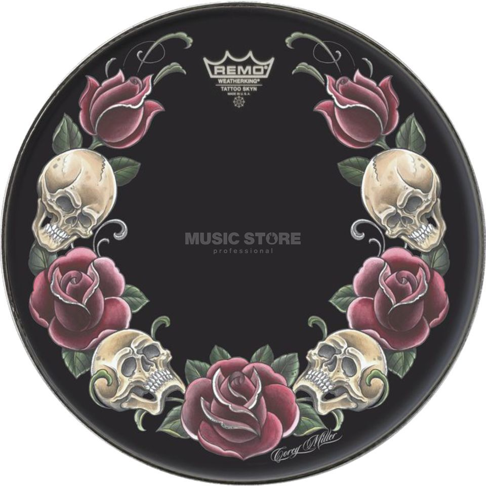 "Remo Tattoo Skyn 22"", Rock and Roses on black Produktbild"