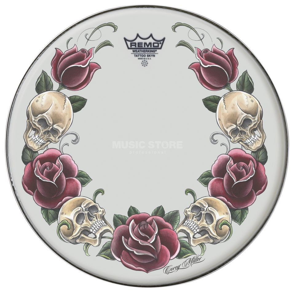 "Remo Tattoo Skyn 22"", Rock and Roses on white Produktbillede"