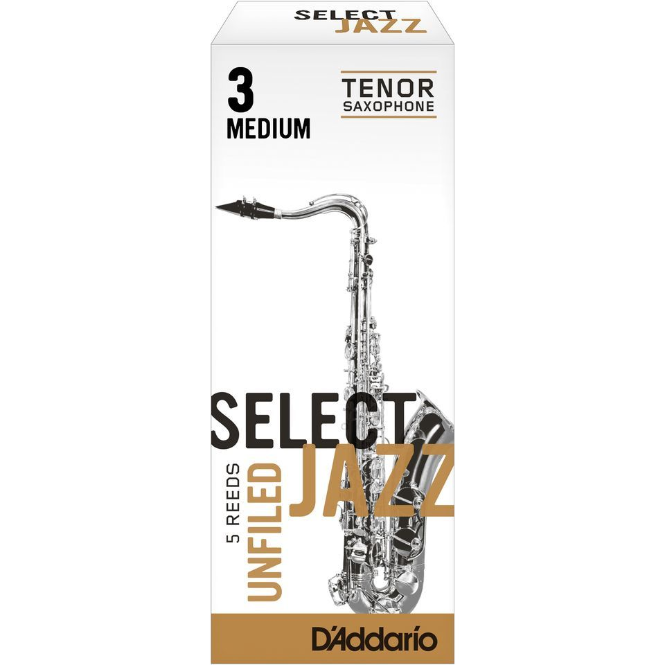 Rico Select Jazz Unfiled Tenor Sax Reeds 3M Unfiled Box of 5 Product Image