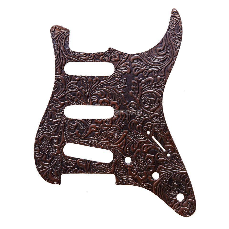 RightOn! Straps Pickguard S-Style Brown Leather Engraved Produktbild