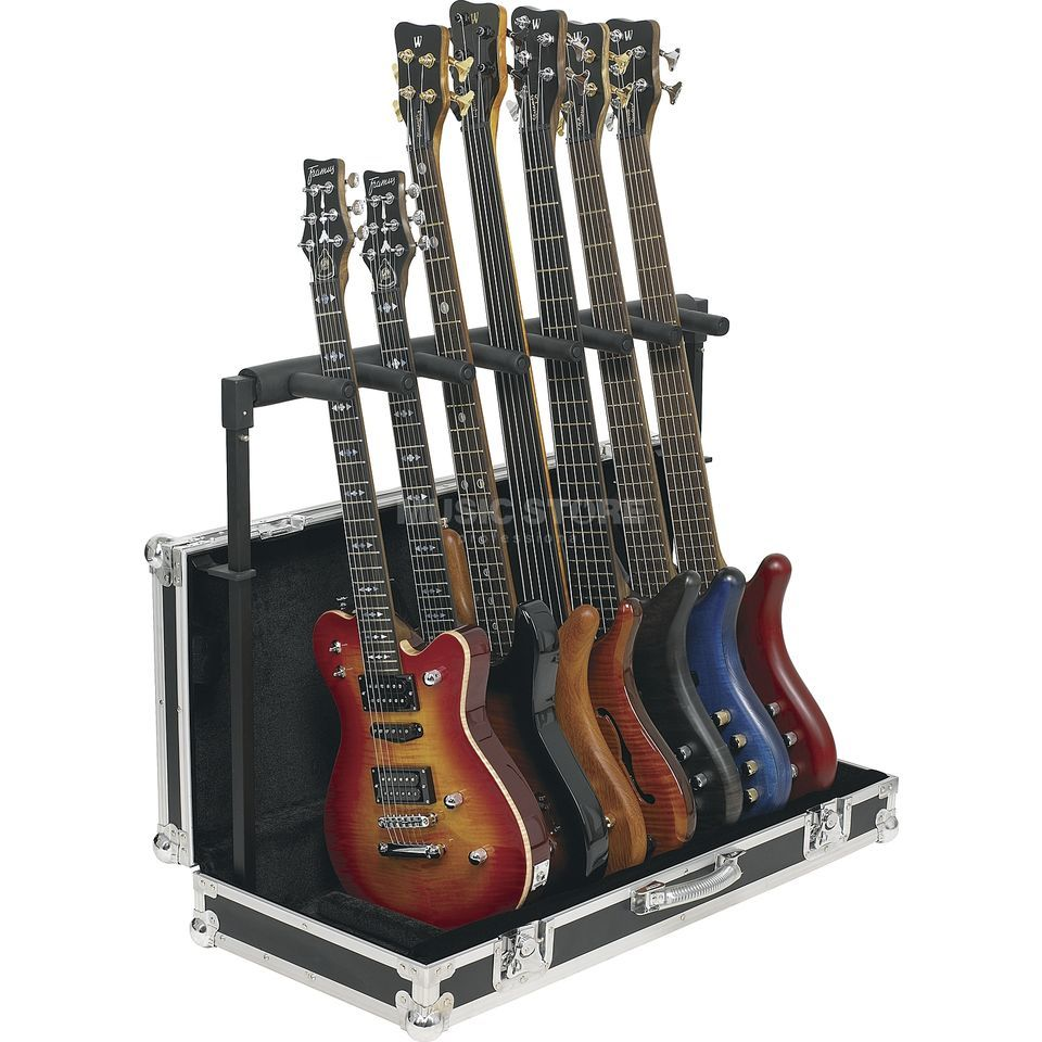 Rockstand Multiple E-Guit./Bass Stand, for 7 Instr. in FlightCase Produktbillede