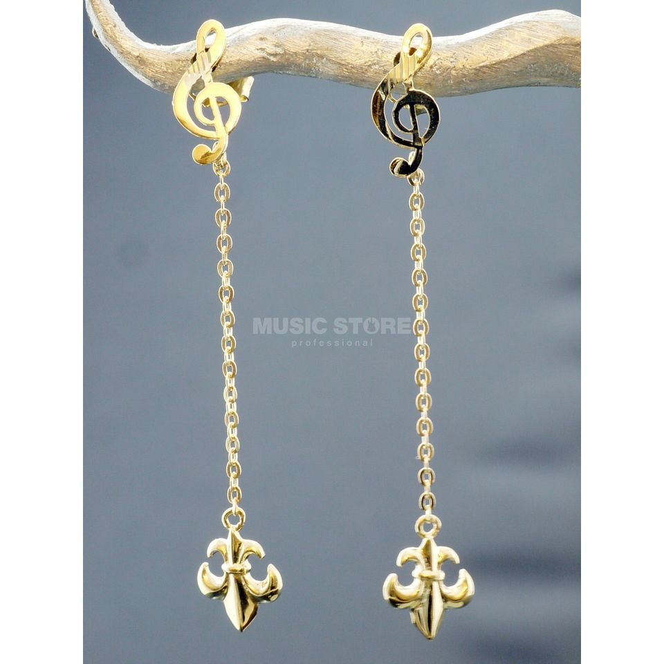 Rockys Earrings Violin Clef with Lily Gold 333/8 Karat Produktbillede