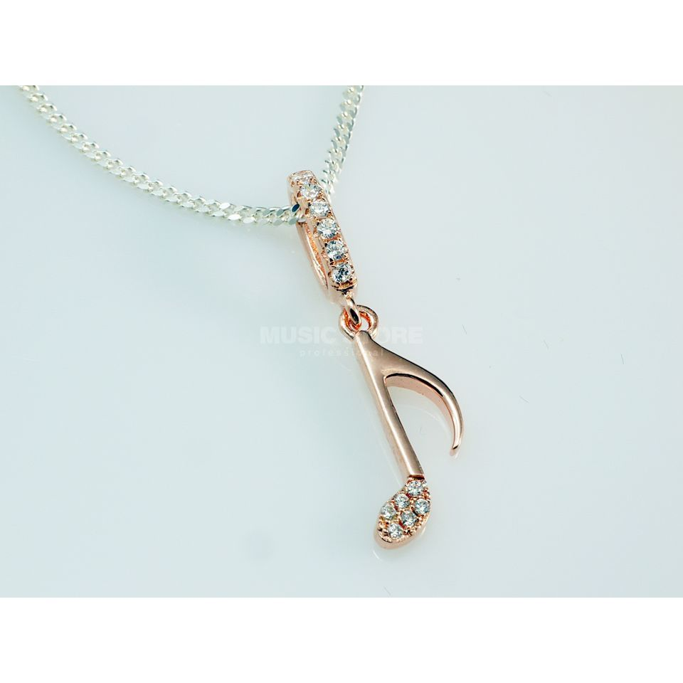 Rockys Pendant Notes with Chain rosé gold plated, zirconia Produktbillede