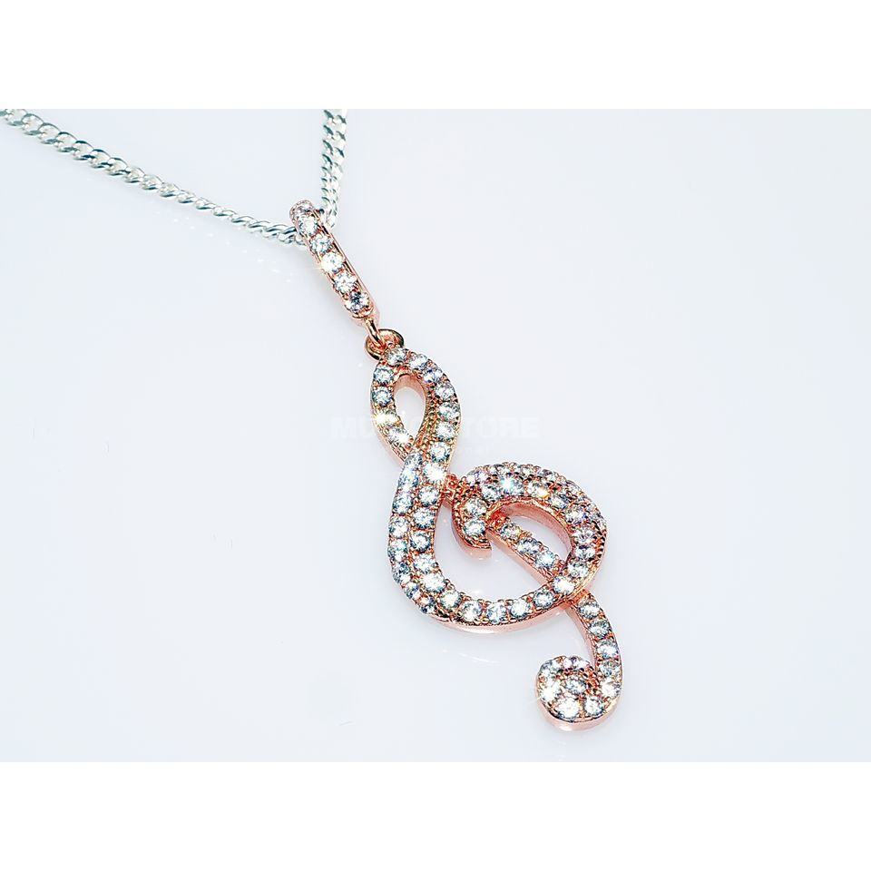 Rockys Pendant Violin Clef with chain rosé gold plated, zirconia Produktbillede