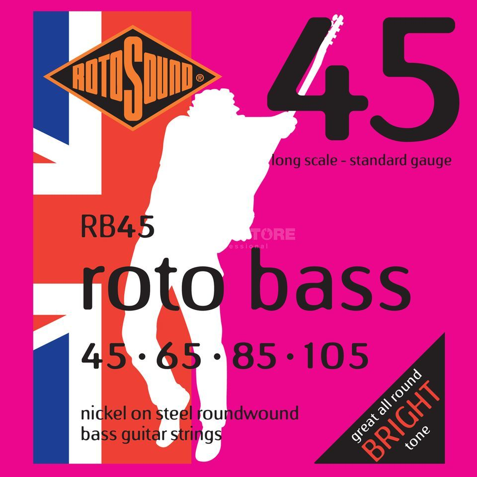 Rotosound bas snaren RB45 4er 45-105 roto bas, nikkel on Steel Productafbeelding