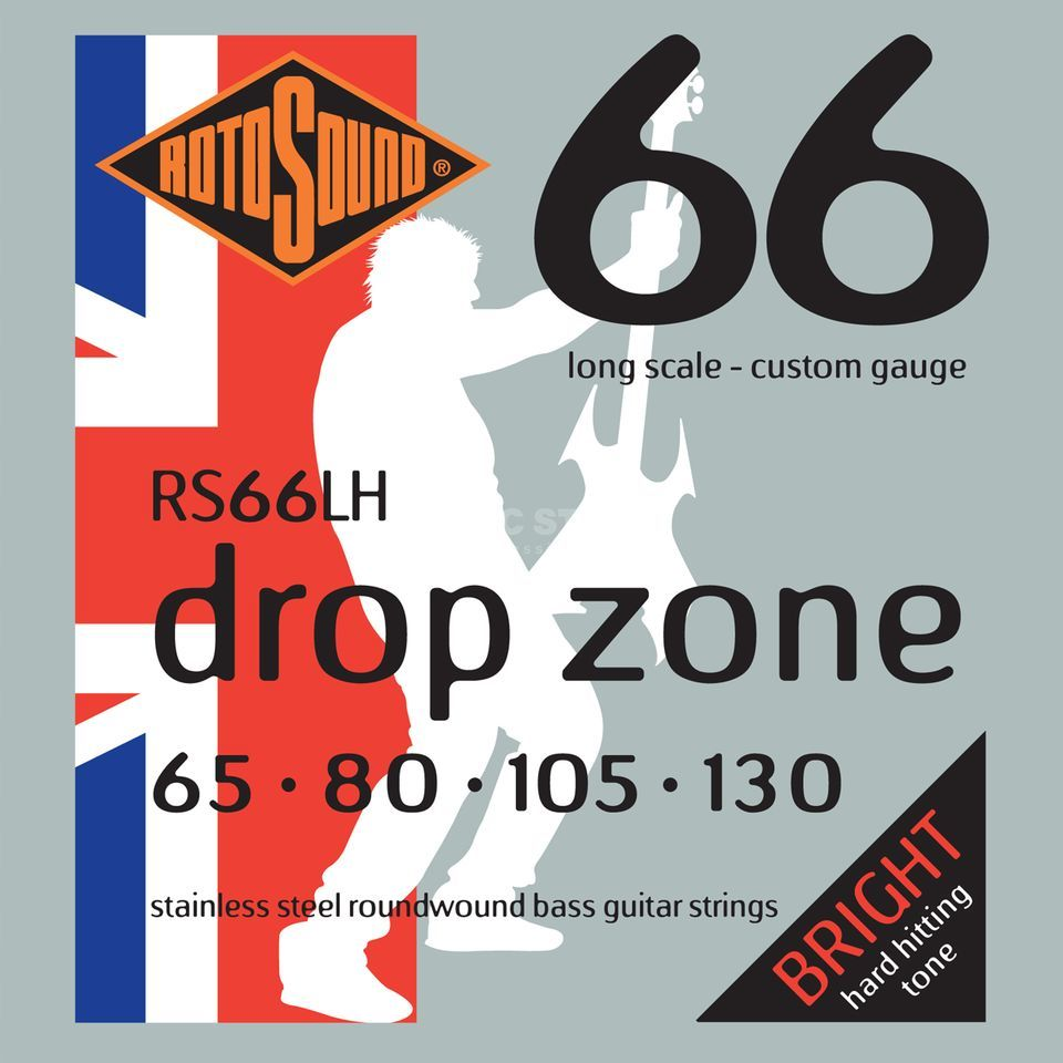 Rotosound bas snaren RS66LH, 4er 65-130 Drop Zone 66, Stainless Steel Productafbeelding