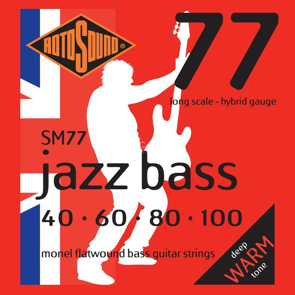 Rotosound Bass Saiten SM77, 4er 40-100 Jazz Bass 77, Monel Flatwound Produktbild