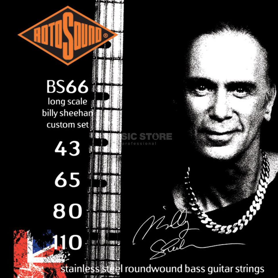 Rotosound Bass Strings BS66 43-110 4 Set Billy Sheehan, Stainless Steel Imagem do produto