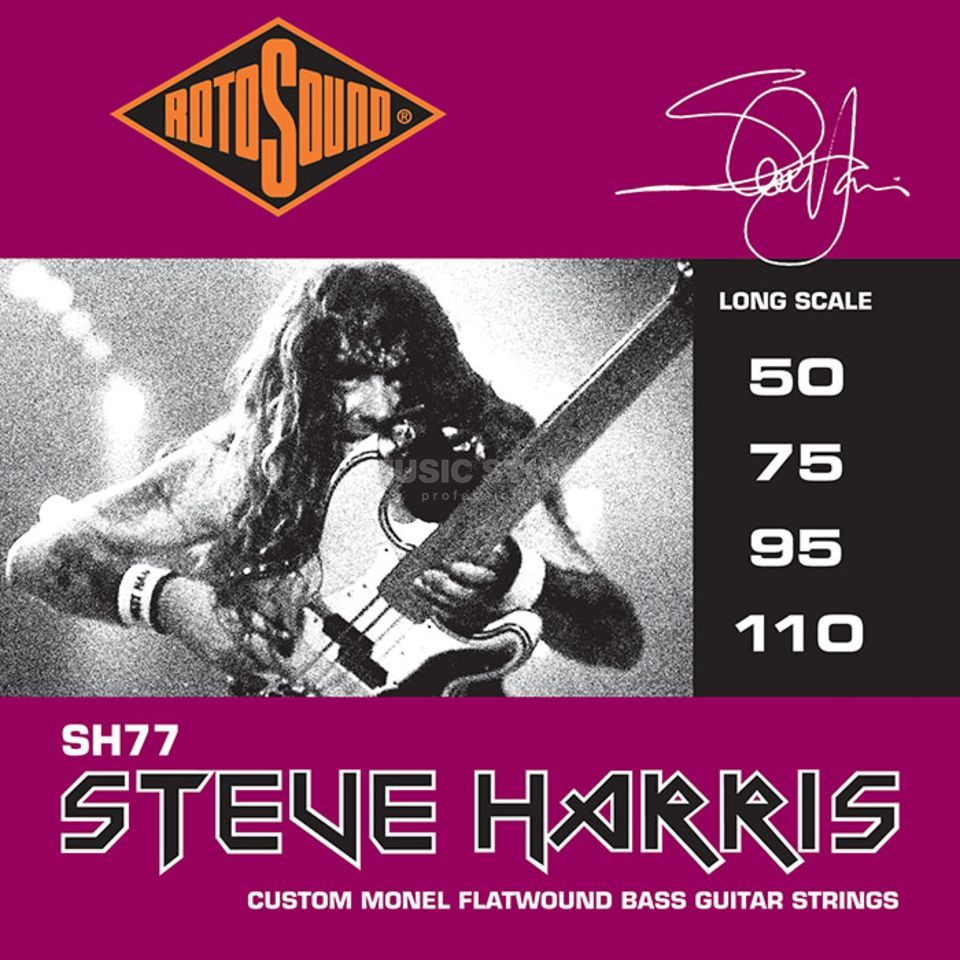 Rotosound Bass Strings SH77, 50-110, Flat Steve Harris, Monel Flatwound Product Image