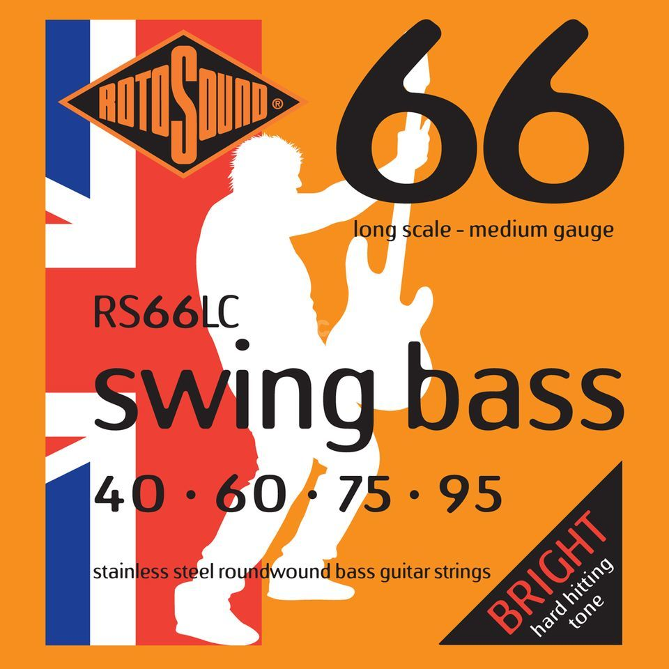 Rotosound Cuerdas para bajo RS66LC, 4er 40-95 Swing Bass 66, Stainless Steel Imagen del producto