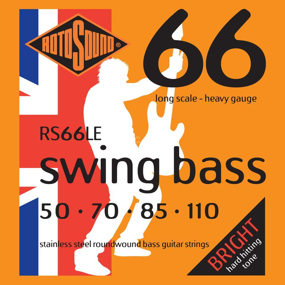 Rotosound Cuerdas para bajo RS66LE, 4er 50-110 Swing Bass 66, Stainless Steel Imagen del producto