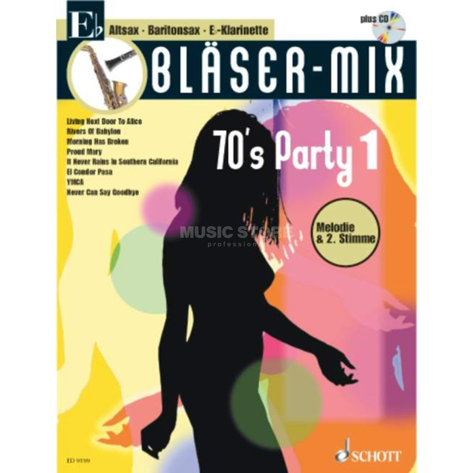 Schott-Verlag 70's Party, Bläser-Mix Play-along Eb-Instrumente Produktbillede