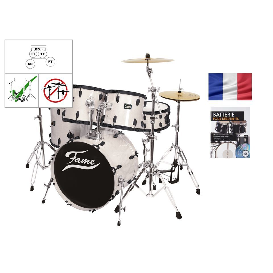 SET Batterie acoustique FAME 5221, blanc + partitions Produktbild