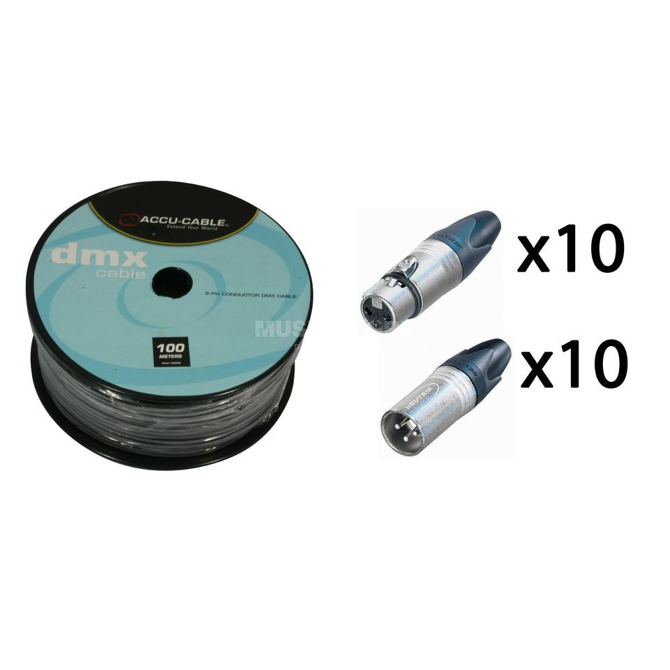 SET DMX Kabel 100m Rolle inkl. 10x Neutrik Stecker male & female Produktbild