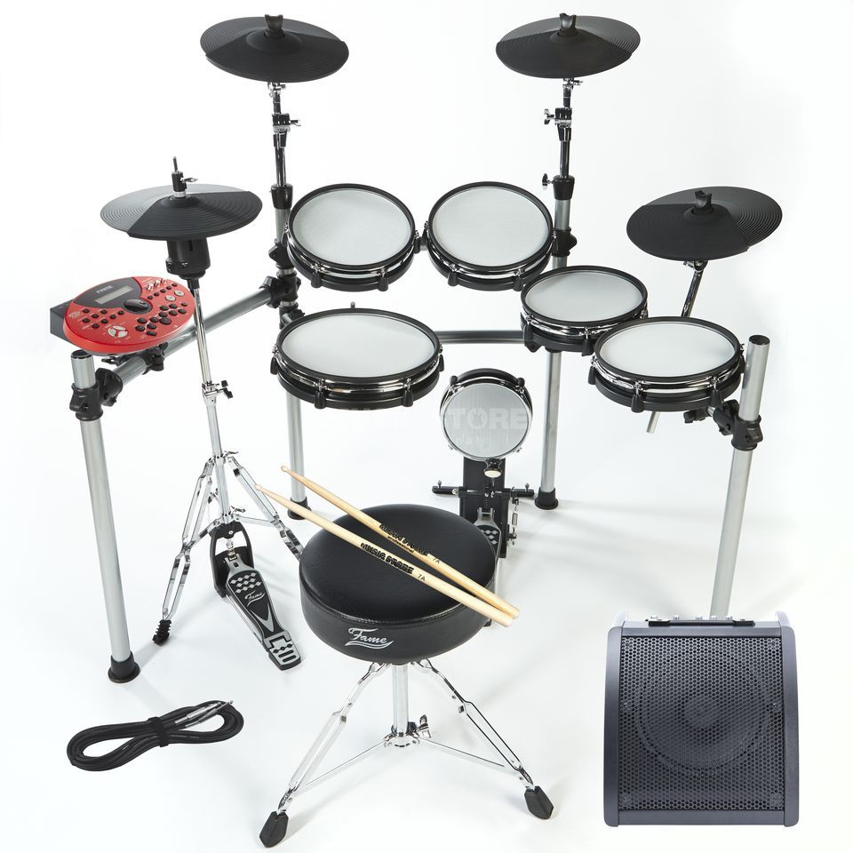 SET Fame DD-ONE Professional inkl. Hocker, Sticks & Monitor Produktbild