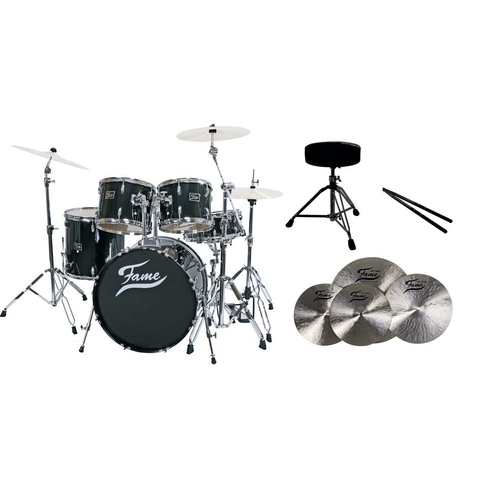 SET FAME Maple Standard Black 20, + B20 Becken, Hocker & Sticks Produktbild