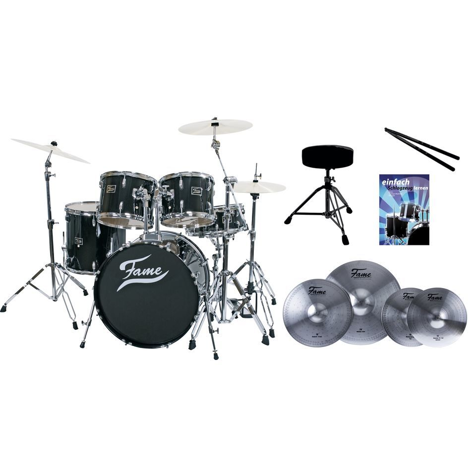 SET FAME Maple Standard Black 20, + Reflex Becken, Hocker & Stix Produktbild