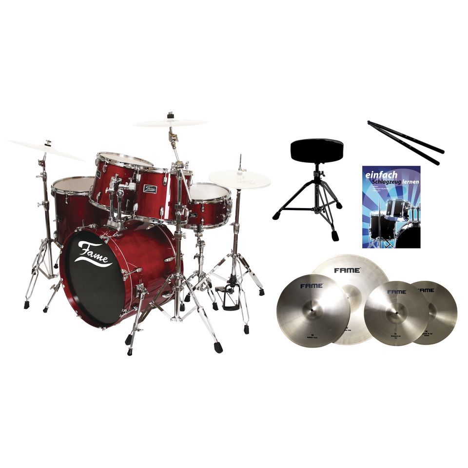 SET FAME Maple Standard Red 20 + Becken, Hocker & Sticks Produktbillede