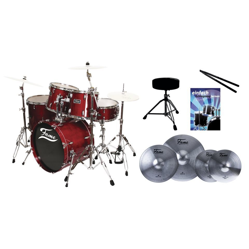 SET FAME Maple Standard Red 20, + Reflex Becken, Hocker & Stix Produktbild