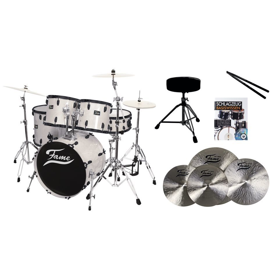 SET Fame Maple Standard White 20, + B20 Becken, Hocker & Sticks Produktbild