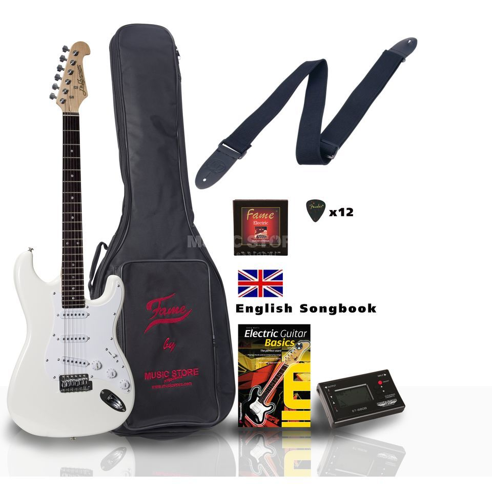 SET Jack Danny ST Rock WH ENGLISH +Bag+Strap+Tuner+Songbook etc. Produktbild