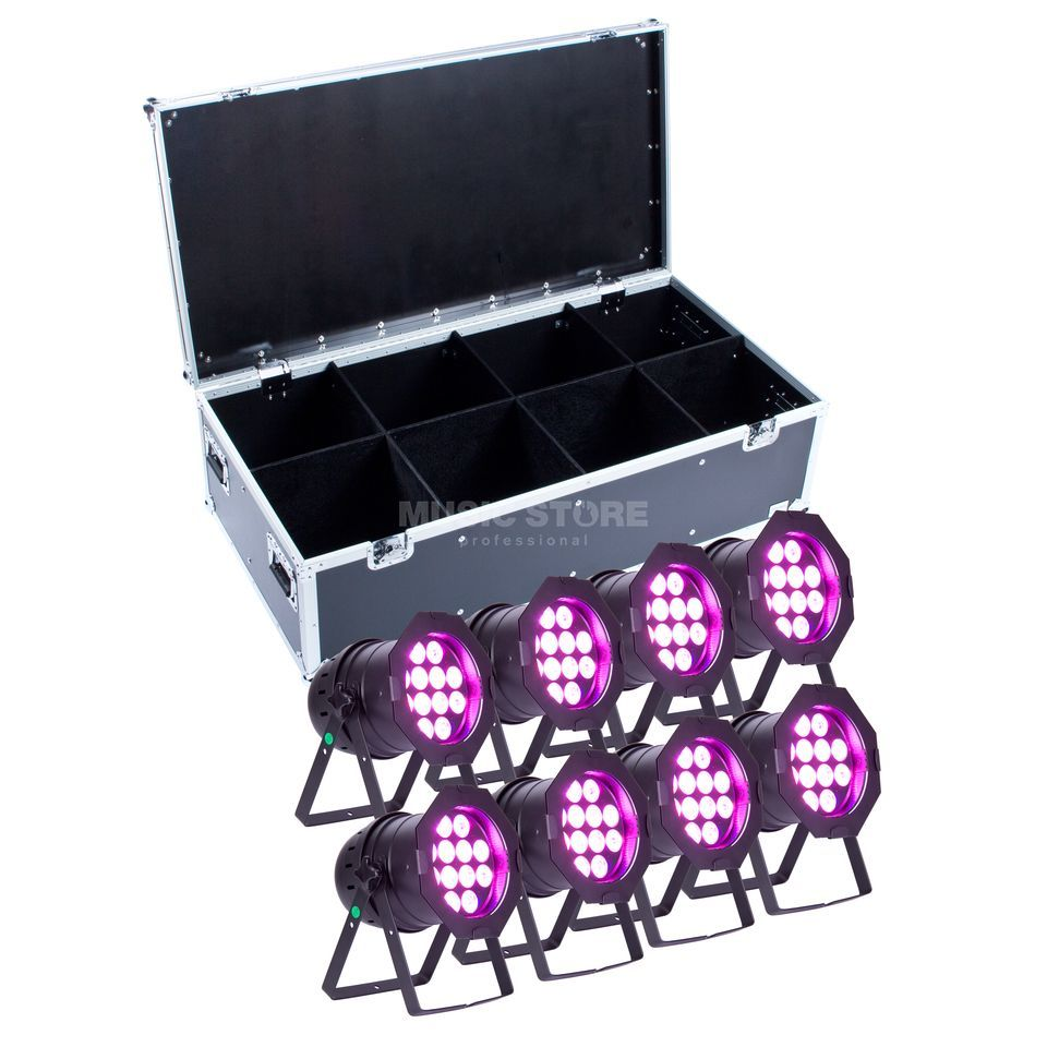 SET lightmaXX LED PAR 64 COMPLETE black  (8x) inkl. Case Produktbild