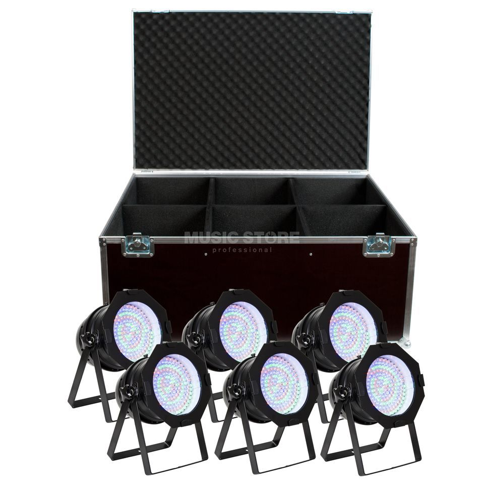 SET LightmaXX LED Par 64 RGB Black Short (6x), inkl. Case Produktbillede