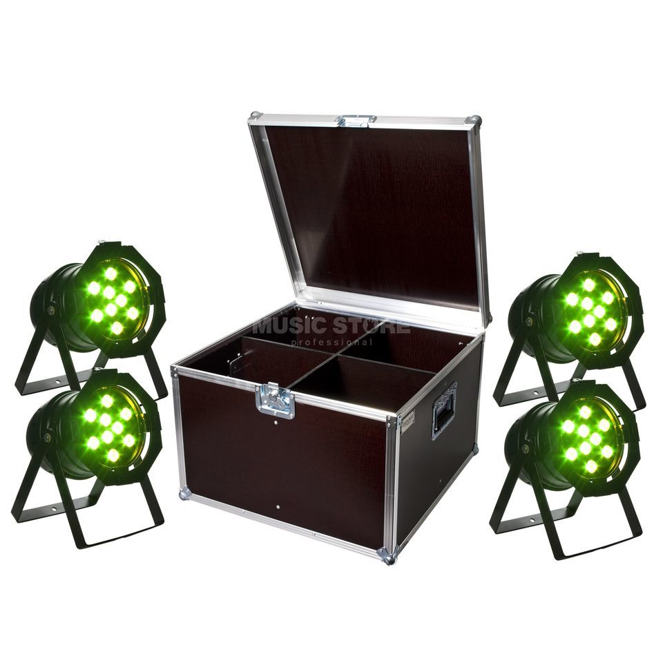 SET LightmaXX Platinum LED PAR 56 Tri-LED Black (4x), inkl. Case Produktbillede