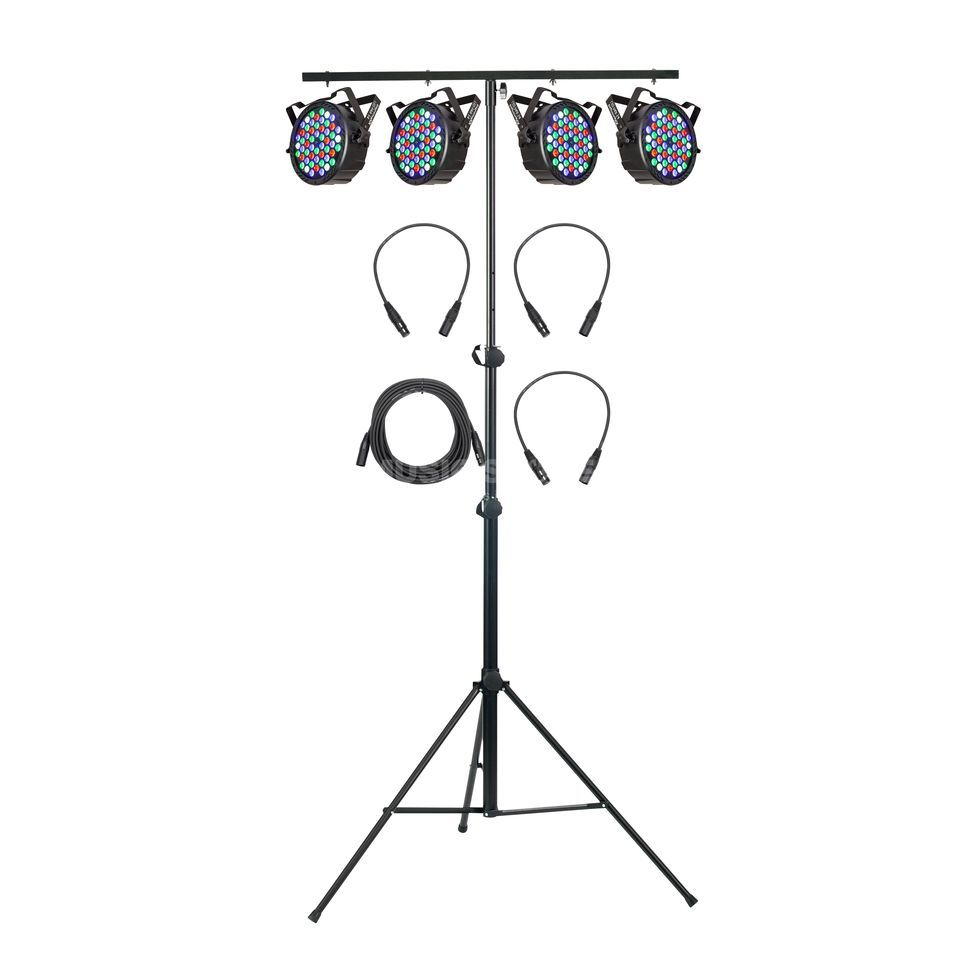 SET Platinum LED MINI PAR QUAD wh. (4x), in. DMX Controller/Kabel Produktbild