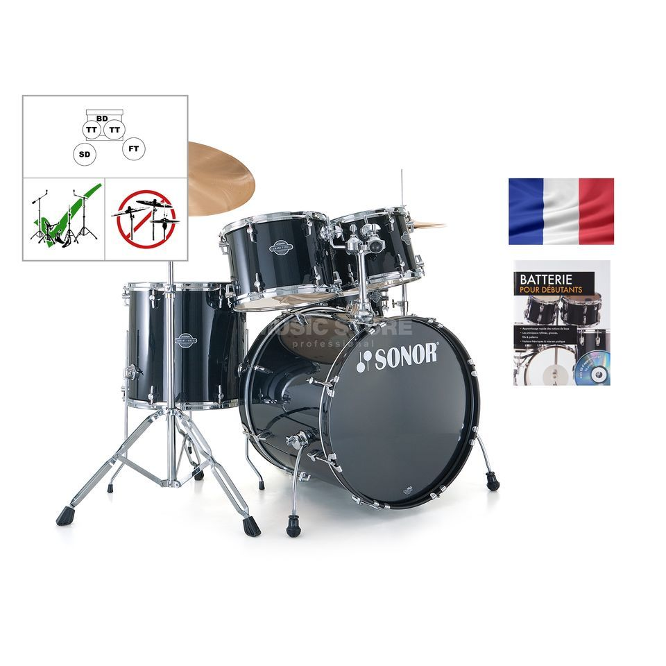 SET SONOR Smart Force Stage 2, noir + partitions Produktbillede