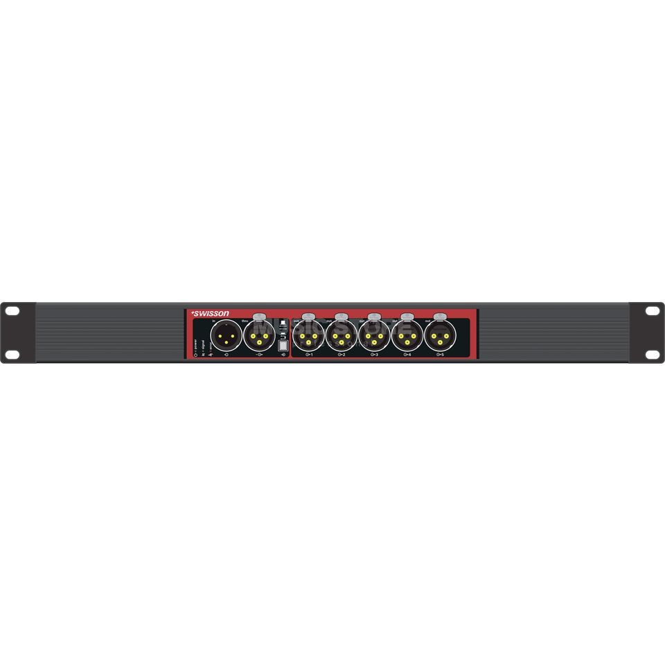 "Swisson X-SP-3R DMX Splitter Single 19"", 3pol in/3 thru/5x3pol out Produktbild"