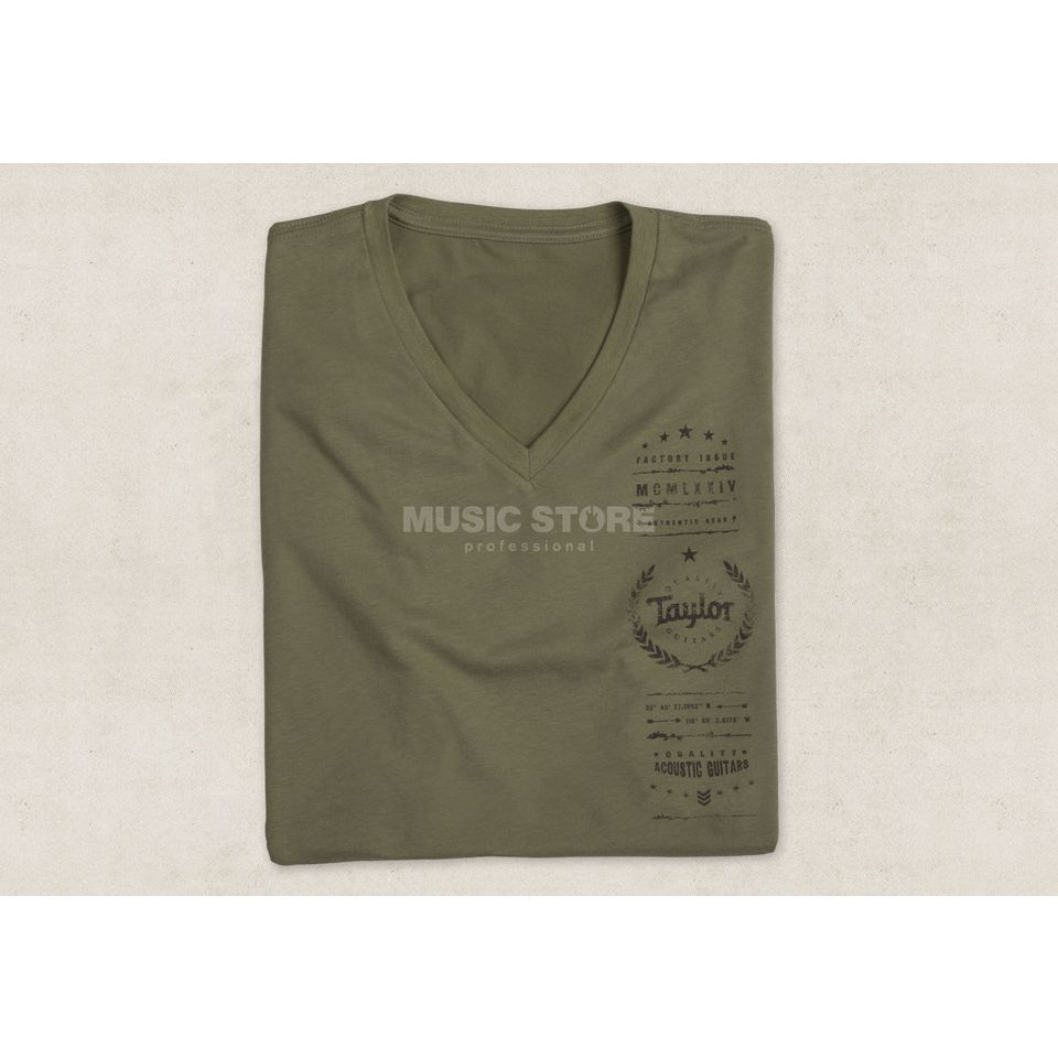Taylor Men's Factory Issue T-Shirt XL V-Neck Olive Produktbillede