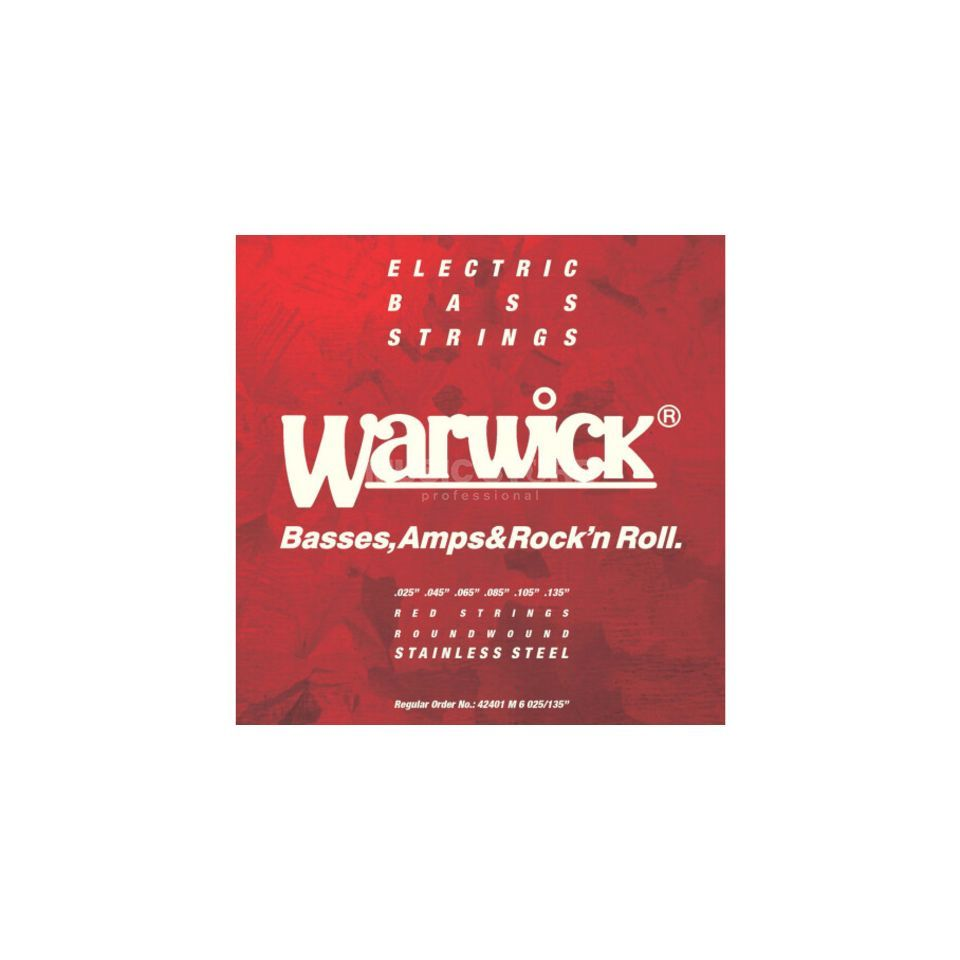 Warwick Bass Strings, 25-135,Red 6 String Set, Stainless Steel Product Image
