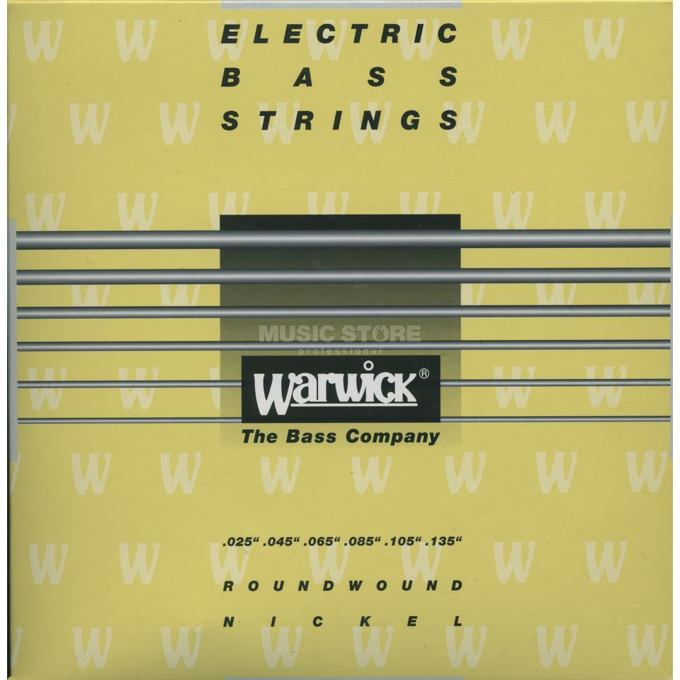 Warwick Bass Strings, 25-135, Yellow 6 String Set, Nickel Strings Immagine prodotto