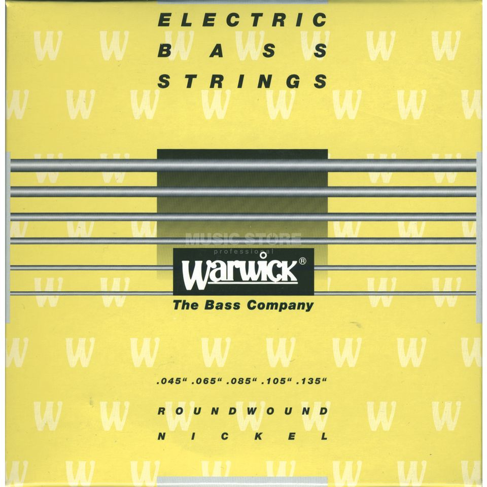 Warwick Bass Strings, 45-135, Yellow 5 String Set, Nickel Strings Imagem do produto