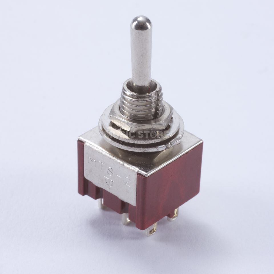 WSC Partsland M305 mini Switch on-on-on 6 pin, chrom, runder Hebel Imagem do produto