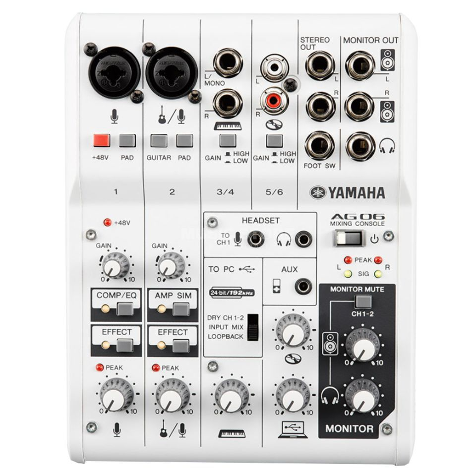 Yamaha AG06 USB Mixer, PC/Mac/iPad Product Image
